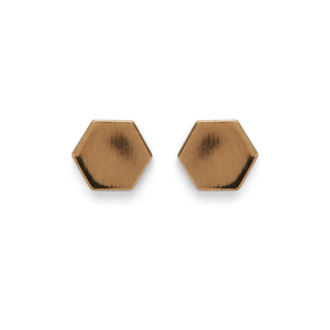 Kris Nations Hexagon Stud Earrings in Gold