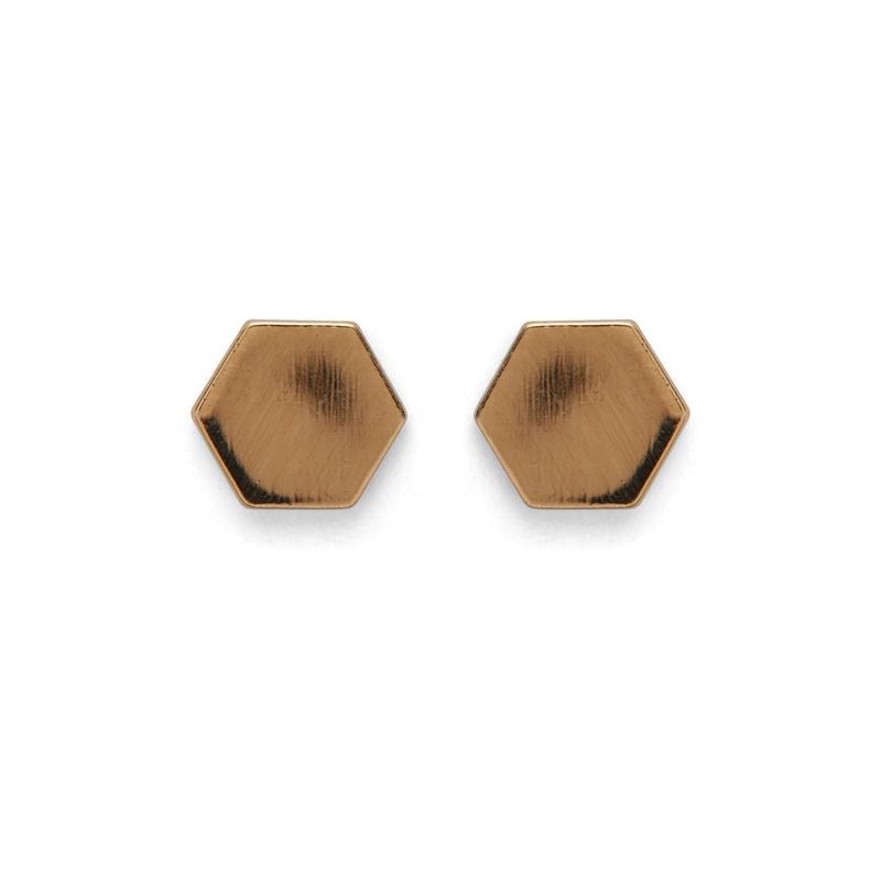 Kris Nations Hexagon Stud Earrings in Gold