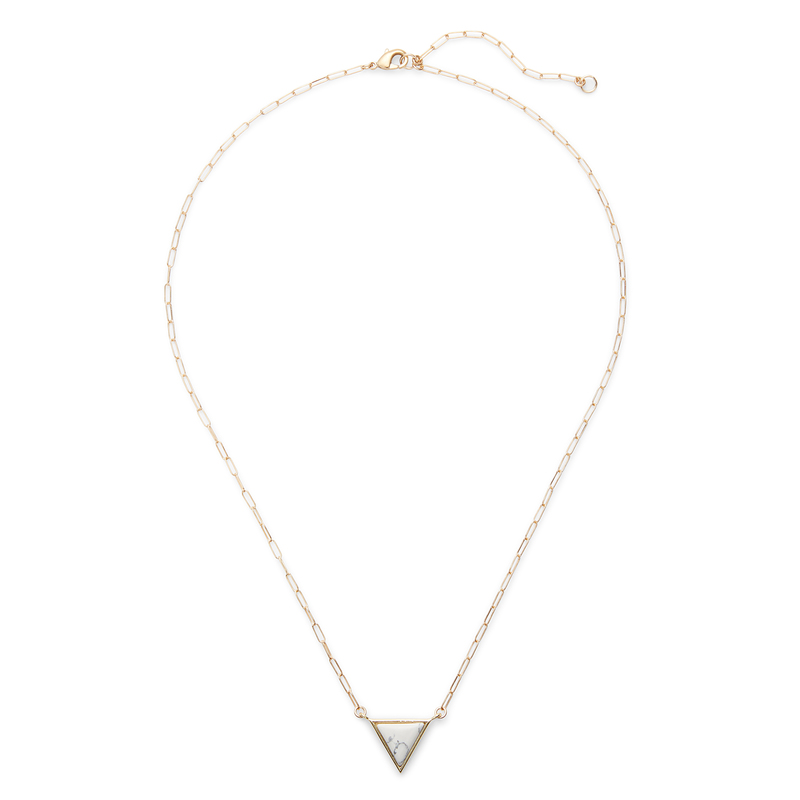 Kris Nations Triangle Necklace in Gold and White Howlite