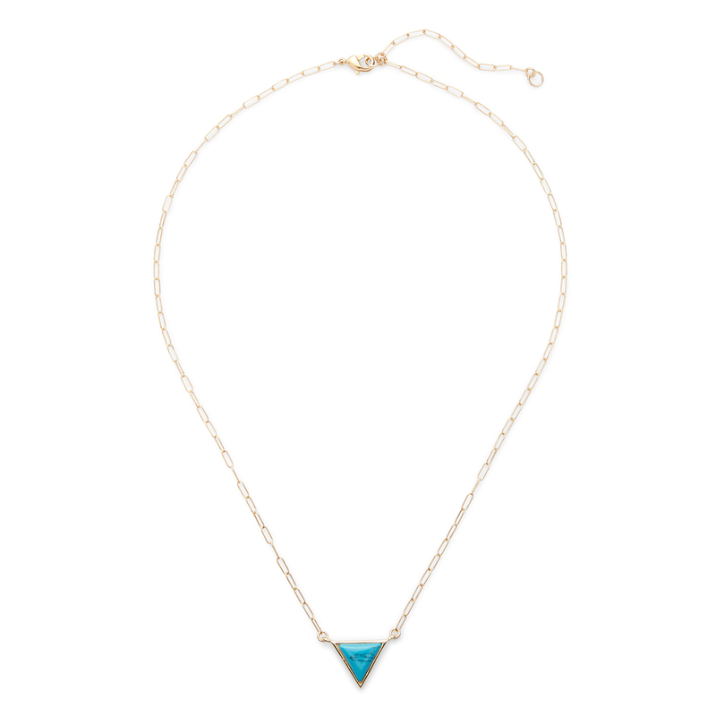 Kris Nations Triangle Necklace in Gold and Turquoise