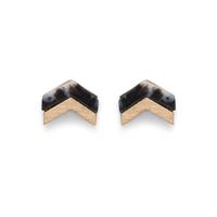SLATE Chevron Stone Studs in Black