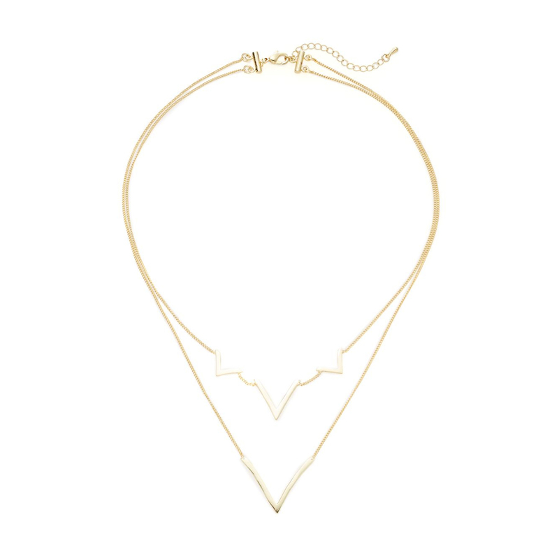 Jules Smith Layered Curved V Necklace in Gold