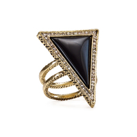 House of Harlow 1960 Triangle Theorem Ring in Black