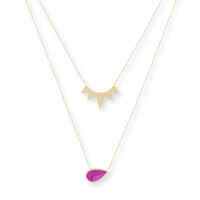 Jules Smith The Muse Layered Necklace in Gold & Ruby