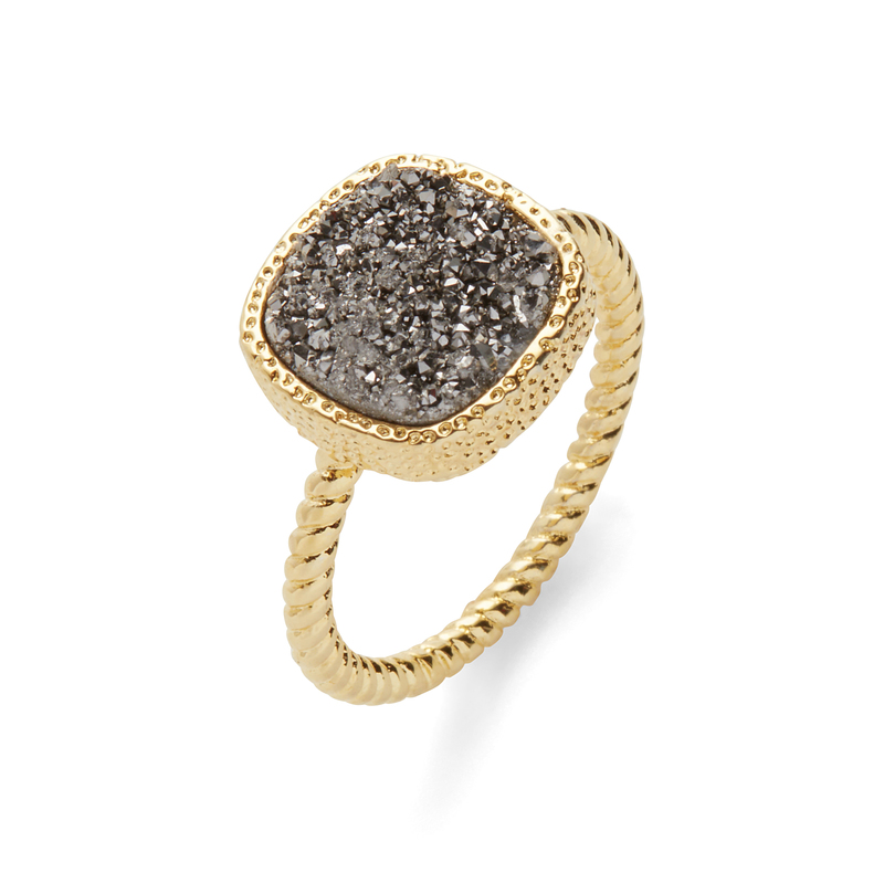 Elise M Sarafina Ring in Gold with Silver Druzy