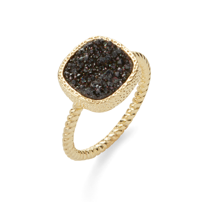 Elise M Sarafina Ring in Gold with Black Druzy