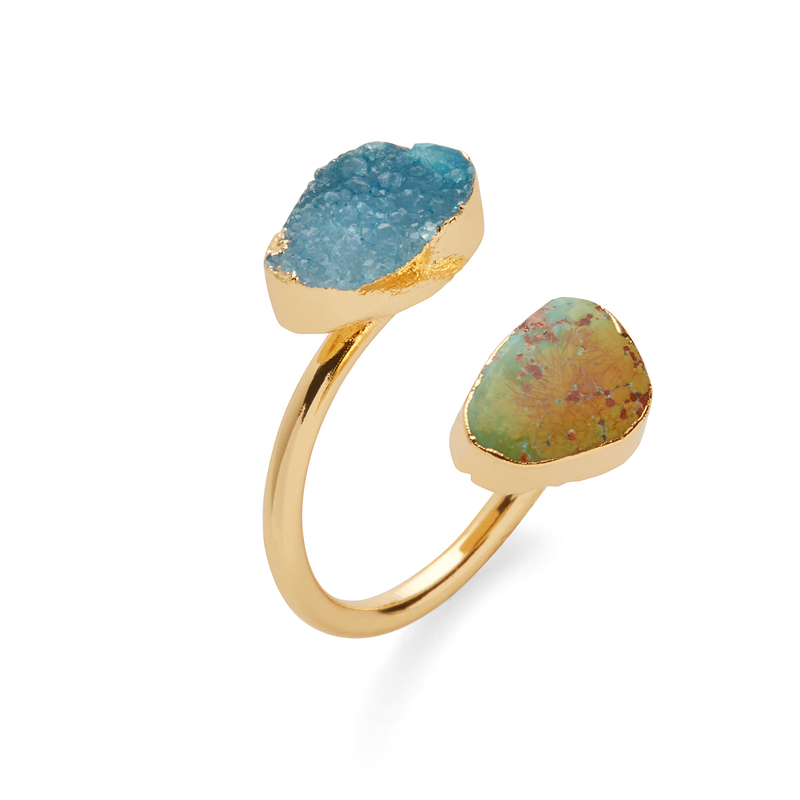 Elise M Celeste Ring in Turquoise and Druzy