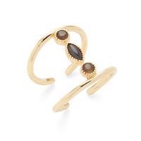 Ettika Three Stone Ring in Onyx