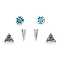 Ettika Silver Stud Set with  Turquoise