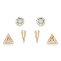 Ettika Gold Stud Set with Opal