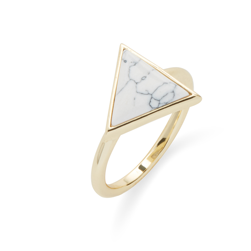 Kris Nations Triangle Stone Ring in Gold and Howlite