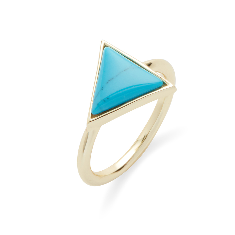 Kris Nations Triangle Stone Ring in Gold and Turquoise