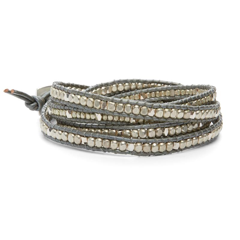 Nakamol Gray & Gold Beaded Wrap Bracelet