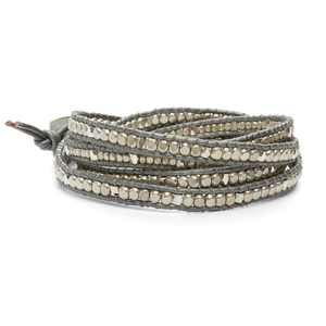 Nakamol Gray & Gold Beaded Wrap Bracelet