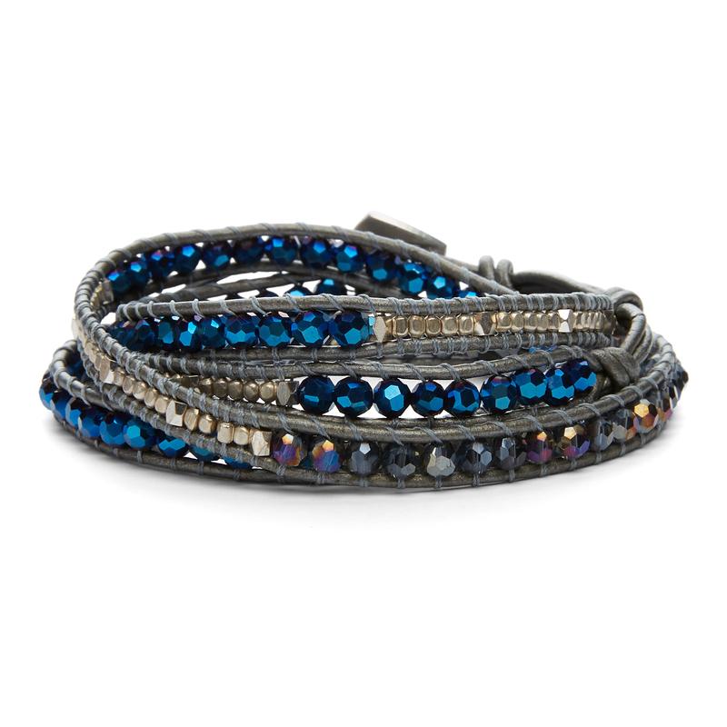 Nakamol Mixed Gray & Blue Crystals Silver Wrap