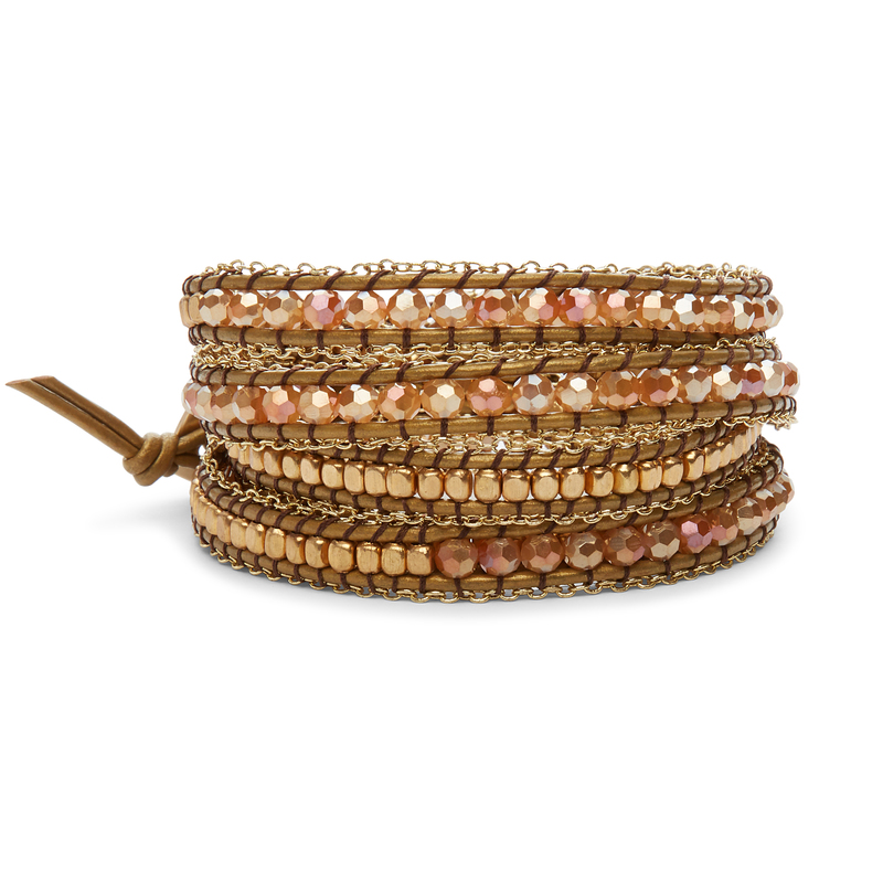 Nakamol Mixed Crystals Blush & Gold Wrap Bracelet