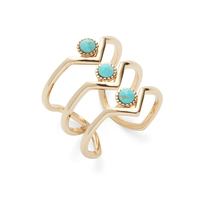 Wanderlust + Co Triple Zeta Ring in Gold and Turquoise