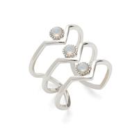Wanderlust + Co Triple Zeta Ring in Silver and Opal