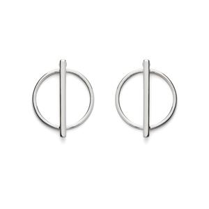 SLATE Geometric Circle Studs in Silver