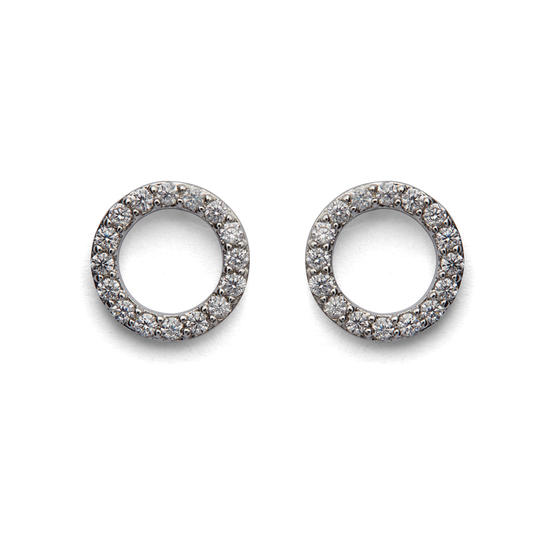 Sophie Harper Pavé Open Circle Studs in Silver