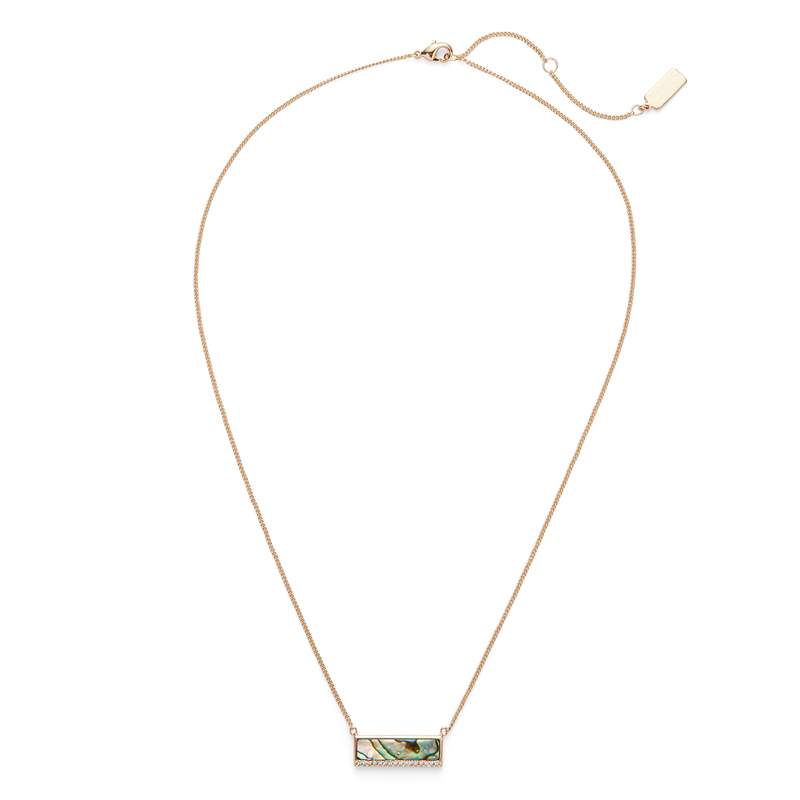 Melanie Auld Modern Stone Bar Necklace in Abalone