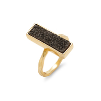 Elise M Muse Ring in Gold with Silver Druzy