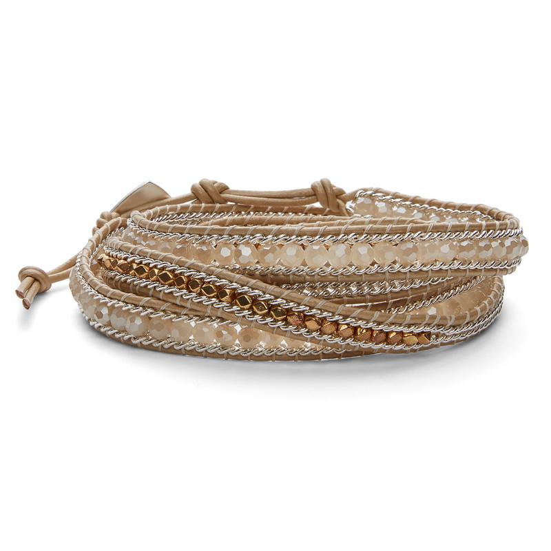 Nakamol Mixed Cream & Silver Wrap Bracelet