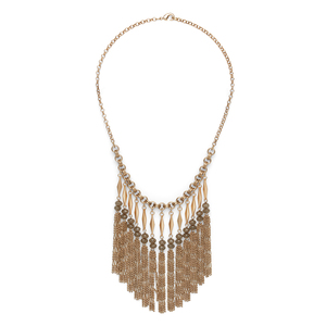 SLATE Bead to Fringe Boho Necklace