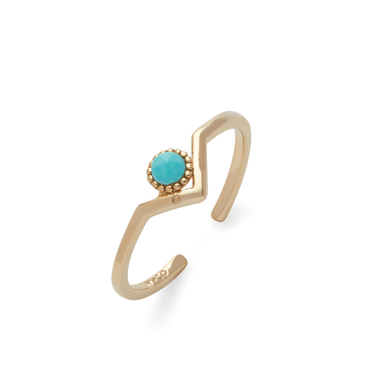 Wanderlust + Co Zeta Ring in Gold and Turquoise