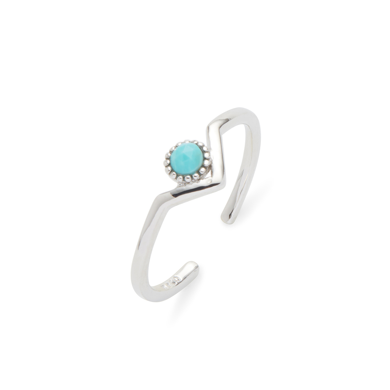 Wanderlust + Co Zeta Ring in Silver and Turquoise