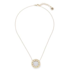 House of Harlow 1960 Mini Sunburst Pendant Necklace in White Madagascar Agate