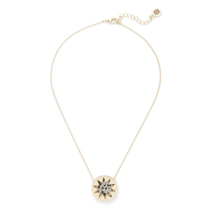 House of Harlow 1960 Mini Sunburst Pendant Necklace in Dalmatian Jasper