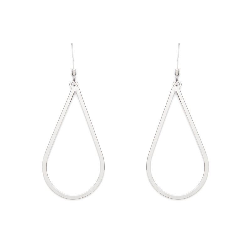 Jill Michael Drop Hoop Earrings in Silver