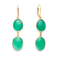 Olivia & Grace Carolyn Earrings in Green Chalcedony