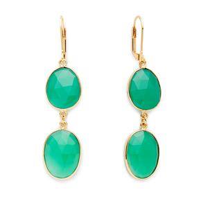 Olivia & Grace Carolyn Earrings in Green Chalcedony