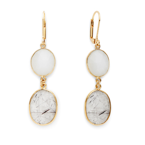 Olivia & Grace Carolyn Earrings in Moonstone and Black Quartz
