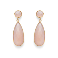 Olivia & Grace Lila Earrings in Pink Chalcedony