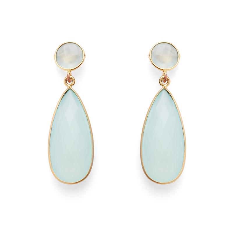 Olivia & Grace Lila Earrings in Aqua Quartz
