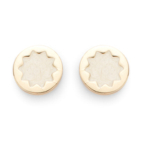 House of Harlow 1960 Enameled Sunburst Stud Earrings in Gold and Ecru