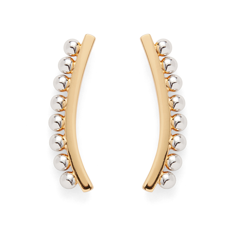 Rebecca Minkoff Pearl Climber Earrings in Gold and Silver