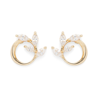 a.v. max Crystal Leaf Circle Studs