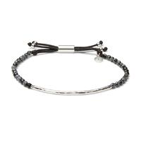Gorjana Power Gemstone Bracelet in Silver and Snowflake Obsidion