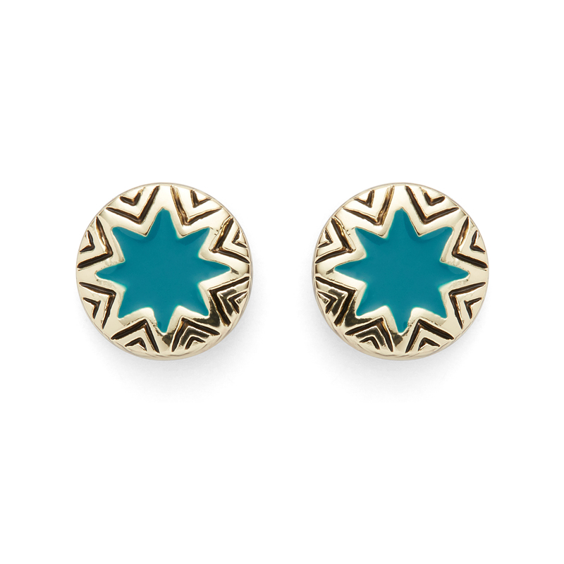 House of Harlow 1960 Engraved Sunburst Stud Earrings in Teal
