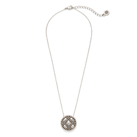 House of Harlow 1960 Phoebe Quilted Pendant Necklace in Silver