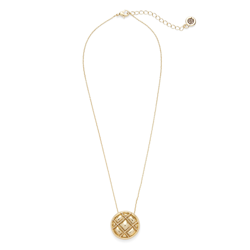 House of Harlow 1960 Phoebe Quilted Pendant Necklace in Gold