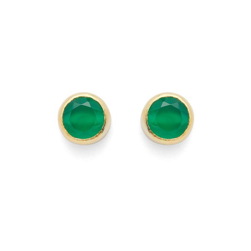Karen London Feel Good Studs in Green Onyx
