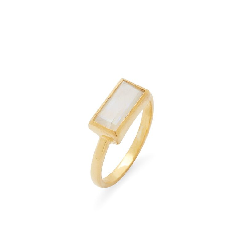 Karen London River Ring in Rainbow Moonstone