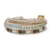 Nakamol Silver Beaded Three Wrap Bracelet