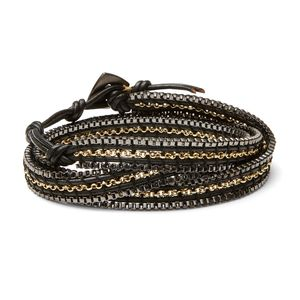 Nakamol Gunmetal and Gold Wrap Bracelet