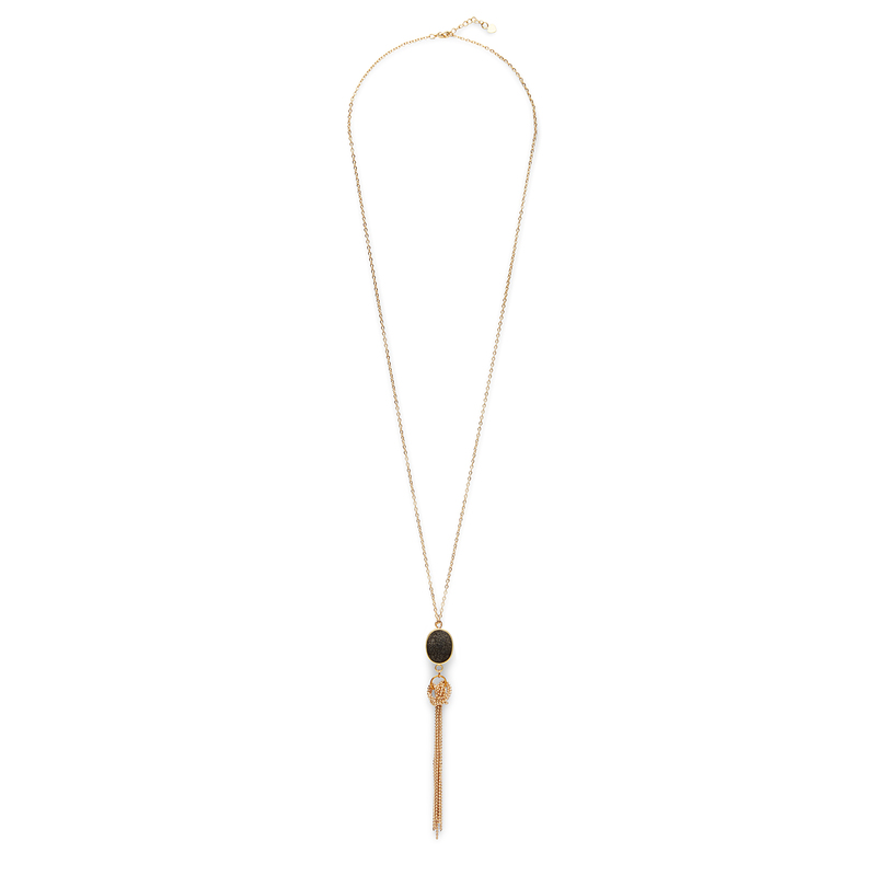 Elise M Maya Pendant Necklace in Black Druzy